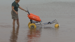beach wheelchair in water